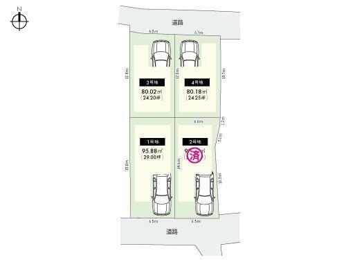 区画図 全体区画図■広々とした間口は自由度が高く、さまざまなお家が建てられます!