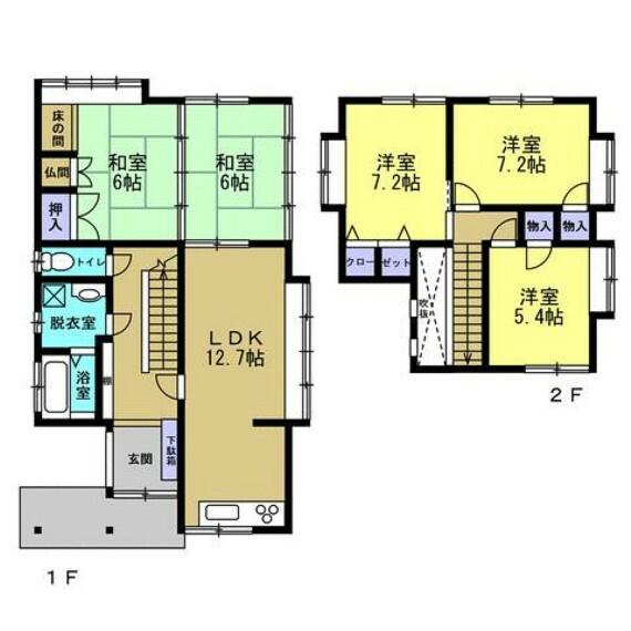 間取り図 土地55坪、建物33坪、5LDKの和風住宅です。水廻り全て新品交換しました。