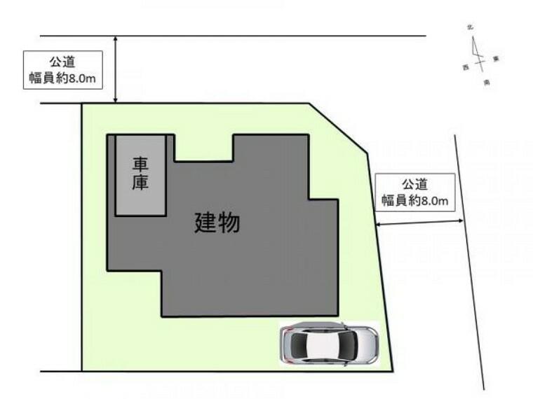 区画図 [リフォーム後_区画図]建物付属の車庫の他、東側にも駐車スペースをRFで確保致します。計2台駐車可能です。