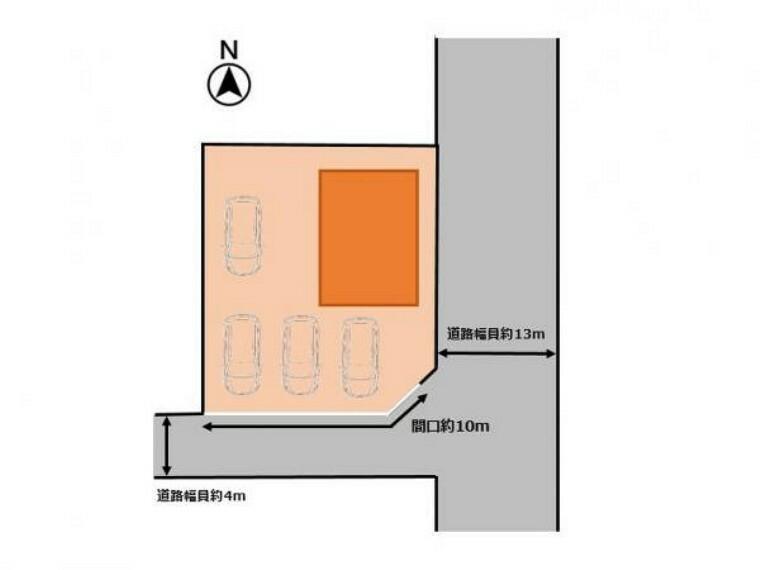 区画図 【敷地図】駐車場は庭木を撤去し、4台分駐車できるようになります。間口が広がることで大きなお車の出入りも難なく行えるようになります。