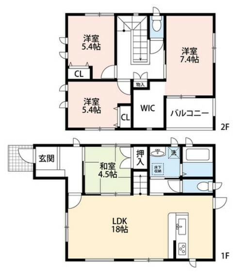 間取り図 4LDKとウォークインクローゼットでゆとりのある暮らしが実現。リビングは隣接する和室と合わせると約23帖の開放感あふれる空間です。2階は洋室が3部屋あるので、お子様が大きくなっても安心ですね^^