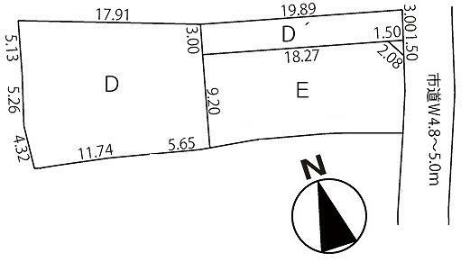 区画図 D'宅延面積:59.39平米 D正味敷地面積:238.57平米(72.16坪)