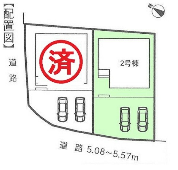 区画図 2号棟 カースペース3台駐車可