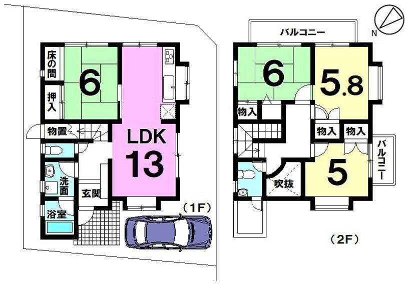 間取り図 【空室】即内覧可!2020年11月室内リフォーム済み!RC・2階建・4LDK!駐車場1台分あり!