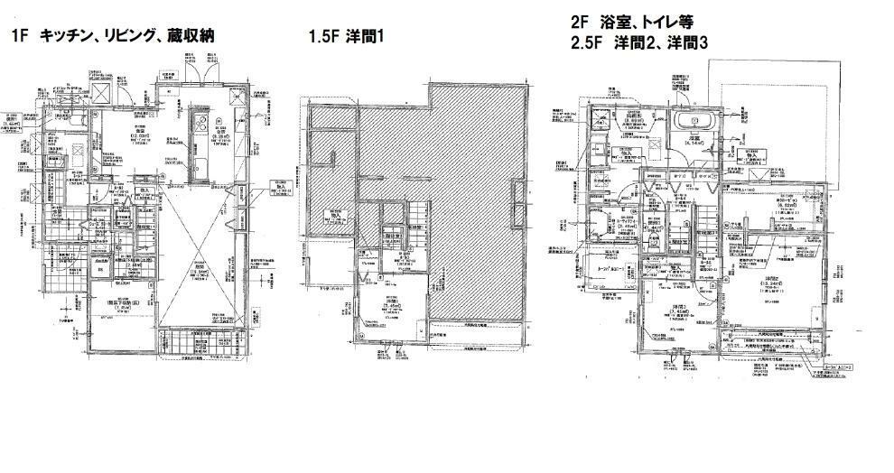 間取り図 1F蔵収納(6帖)蔵をつくることで1F・1.5F・2F・2.5F、2階建のお家なのにミサワ独自の4層空間を実現。