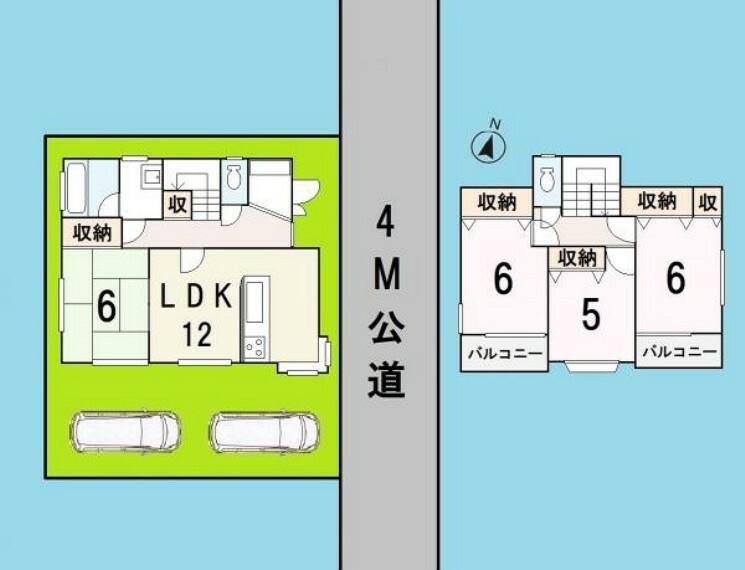 区画図 全居室南向き リビングと和室を合わせると約18帖の広い空間に 生まれ変わります。