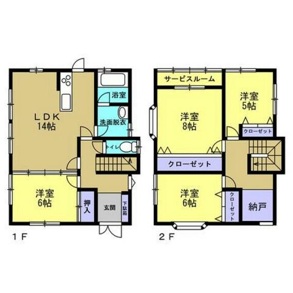 間取り図 【リフォーム後間取り図】4SLDKの住宅です。収納スペースがたくさんあるので、いつでもお家の中をスッキリ保てますね。