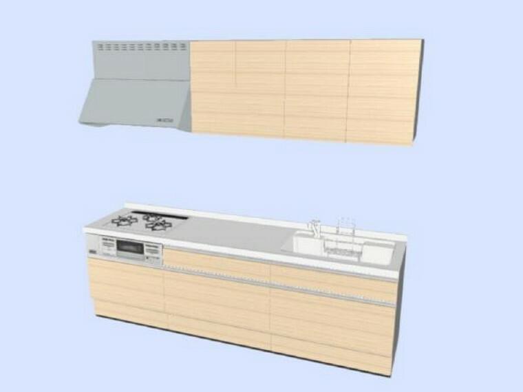 専用部・室内写真 【同仕様写真】キッチンはハウステック製の新品に交換します。引出が7つの嬉しい多収納タイプ。天板は熱や傷にも強い人工大理石仕様なので、毎日のお手入れが簡単です。※企画は変更になる場合があります。