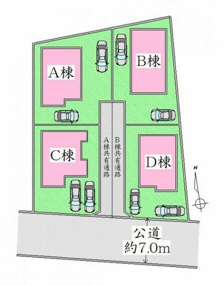 区画図 全体区画図 ゆとりの駐車スペース有