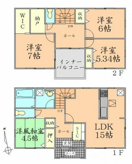 間取り図 間取り 各居室収納有。全室2面採光の明るい住まい。取り 各居室収納有。