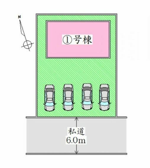 区画図 配置図 並列4台駐車可能。