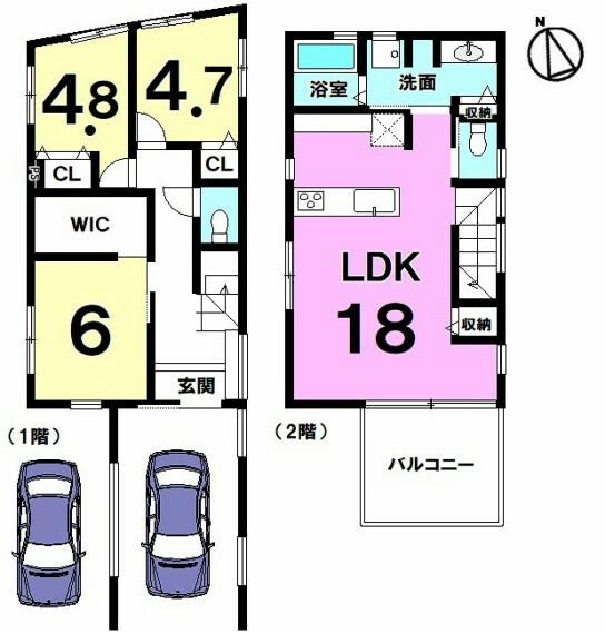 間取り図 【1号棟】浦添市城間1丁目に新築戸建!2021年8月完成予定!LDK広々18帖・3LDK・車2台可!