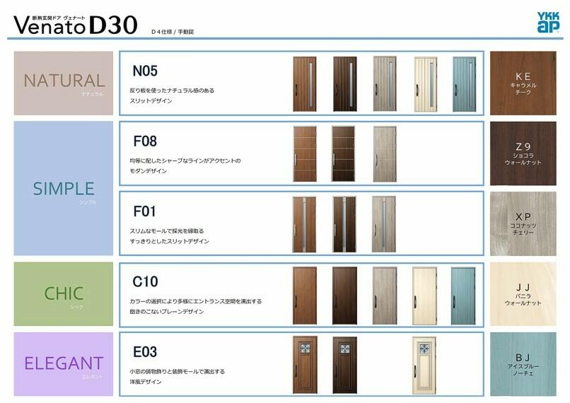 玄関 玄関ドアは断熱・防火仕様!20分の防火性能について国土交通大臣の認定を受けております。 2号棟はカジュアルかつ親しみのあるデザインの扉を採用しました。