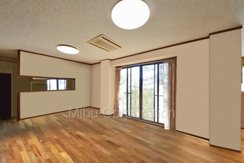 キッチン 南側から日が差し込む明るいリビングです※家具をCGで除去しています。
