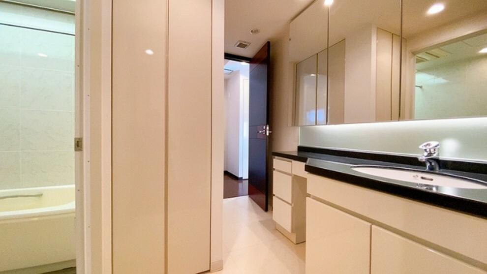 洗面化粧台 バスルームを含む洗面スペースは広々設計。収納棚が設置されておりタオルや洗剤などの収納に便利です。洗濯スペースは扉付きになっています。
