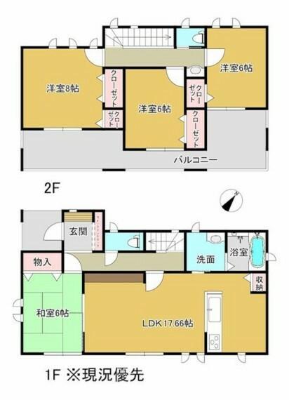間取り図 全居室6帖以上でゆとりある間取りプラン。2階すべての居室から出入り可能なバルコニーがあります。