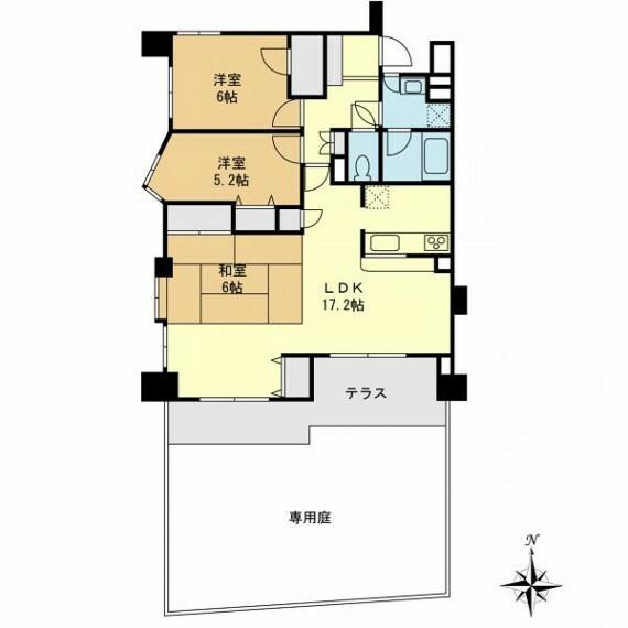 間取り図 南向きで南西角部屋!日当たりの良い専用庭とテラス付き住宅です!