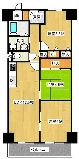間取り図 3LDK 専有面積64.4平米 バルコニー面積7平米