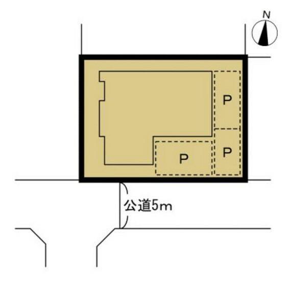 間取り図 【区画図】敷地と建物の配置図です。南側に約5mの公道と接しております。リフォームで間口も広がるので駐車がしやすくなりますね。