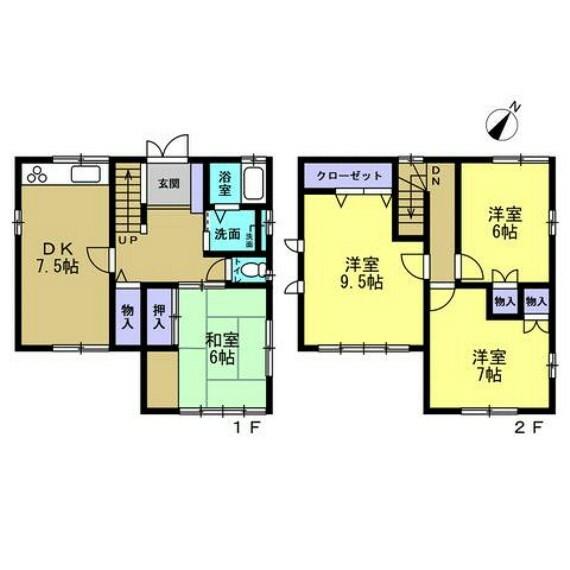 間取り図 間取は2階建ての4DK。