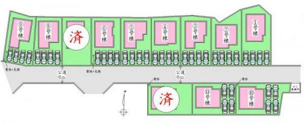 区画図 全体配置図 駐車4台可能です