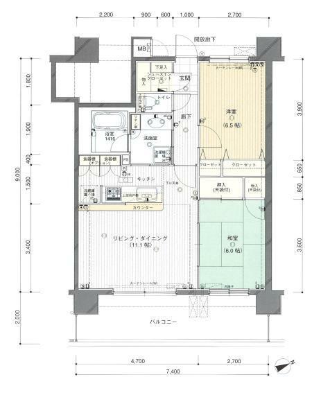 間取り図 2LDK 個室は6帖以上となっています!収納も充実しています! 洗面室への出入りが2方向と換気にもいいですね!