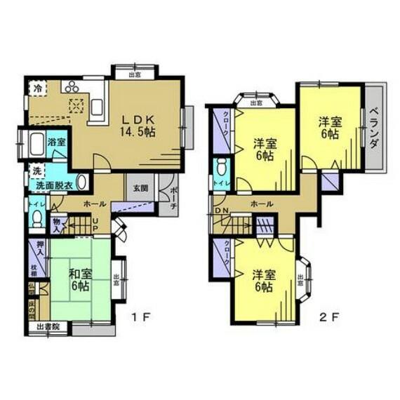 間取り図 【間取図】14.5帖のLDK含む4LDKです。一階と二階にトイレがあるので何かと便利ですよ。