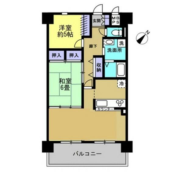 間取り図 南東側バルコニーで日当たり良好なマンションの1室です。管理規約に定められている専有部分の給排水管に漏水や故障があった場合は、弊社が引き渡しから2年間保証します。
