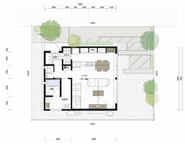 間取り図 1F床面積:55.00平米。あえて敷地南側に寄せて配置し、大きな吹抜けから光を取り込むプランとしております。玄関から買い物の荷物をすぐにキッチンへ運び込める同線となっており、とても便利です。