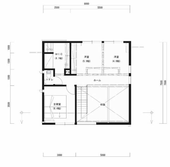 間取り図 2F床面積:46.00平米。2階は当面大空間として、子どもの遊び場やセカンドリビングなど、色んな用途で使えます。将来的には2室に間仕切ることもできます。