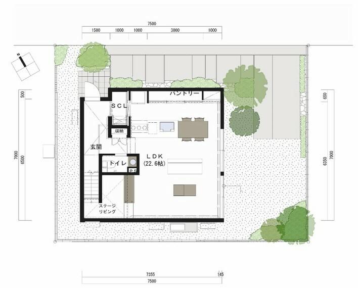 間取り図 1F床面積:51.75平米。LDKの一角、吹き抜け空間に配したファミリーステーションは、家族みんなの学びの場となります。在宅勤務の機会が増えた今、日々の仕事スペースとしても使用でき、便利です。