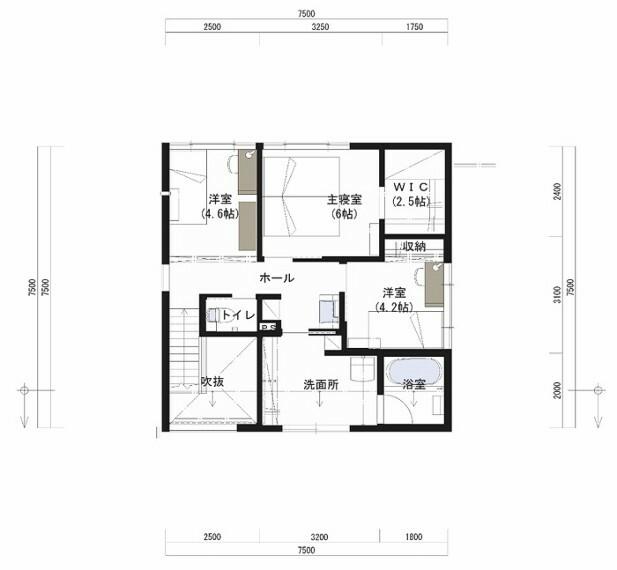 間取り図 2F床面積:51.50平米。洗面所を大きく設け、室内干しスペースとしても使用できるようにしました。ホールのフリースペースは、将来的に間仕切ってお部屋として使っていただけます。
