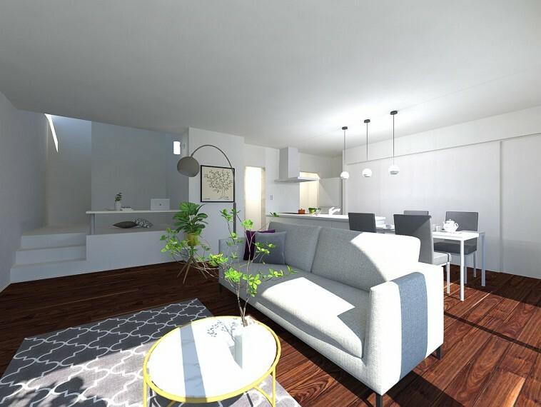 居間・リビング ステージリビングは、お子さまのスタディコーナーにも在宅ワークスペースにもなり、便利です。