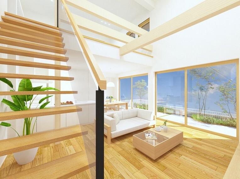 完成予想図(内観) 大きな吹き抜けにより開放感のある空間となっております。※内装カラーは一例です。
