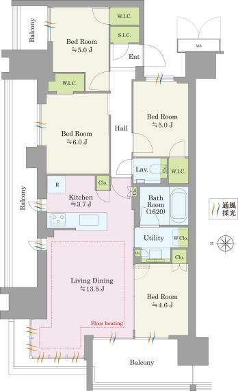 間取り図 14階角住戸。専有面積82.60平米・バルコニー面積24.21平米、合計106.81平米の大型空間がご利用いただけます。主寝室は約10帖超と広々しており、将来、ご家族の変化にあわせ4LDKにも変更できます。