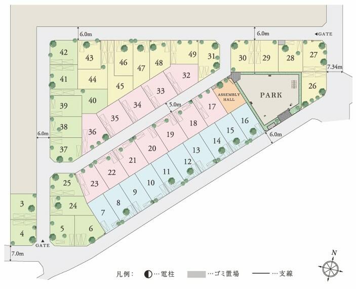 区画図 【ゆとりと開放感あふれる全47邸】  全邸敷地面積135平米~164平米のゆとりある住まい。土地の広さを活かした建物配置で2台標準のカースペースや、美しい緑のある庭を確保。公園や集会場も設置し、47家族の新しいコミュニティがここから始まります。