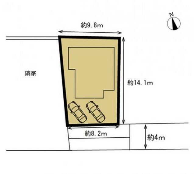 区画図 【区画図】閑静な住宅街にある4LDKのオウチです。駐車場は拡張工事を行い、並列2台分のお車を停めていただけます。