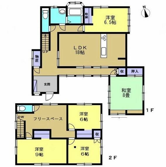 間取り図 リフォーム後の間取図です。5LDKの2階建てのお家になります。LDKを新設するので、家族団らんができるおうちになりますよ