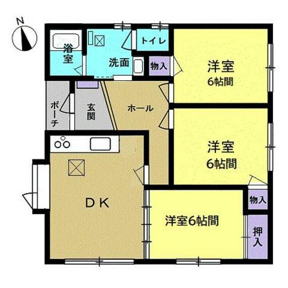 間取り図 【間取り図】3DKの平家住宅です。南側に大きな窓付きでお日様入りますね。オール洋室仕様に変更しました。