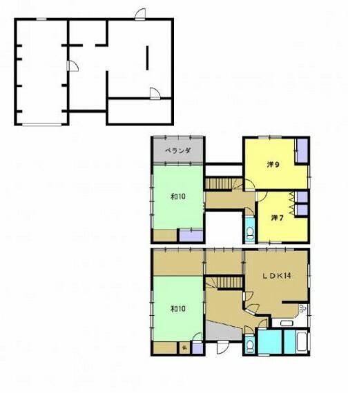 間取り図 【リフォーム前写真】4LDK。現況の間取りです。2階8畳和室と6帖和室を洋室に変更する予定です。