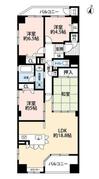 間取り図 4LDK、全居室収納付きでゆとりのある暮らしが実現。