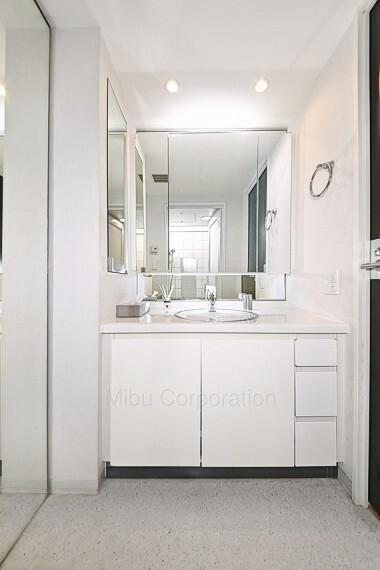 洗面化粧台 収納スペースも豊富な独立洗面台です。