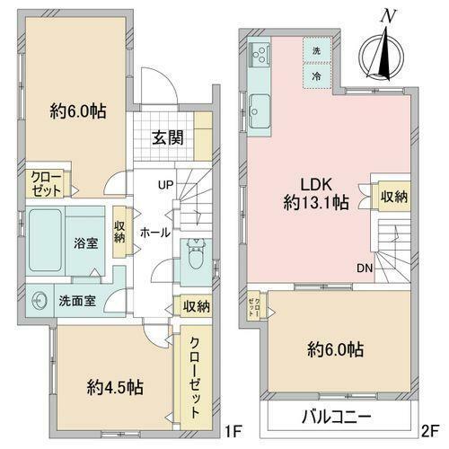 間取り図 3LDK+駐車スペース 居室に関して、建築基準法上では一部「納戸」扱いとなる可能性がございます。