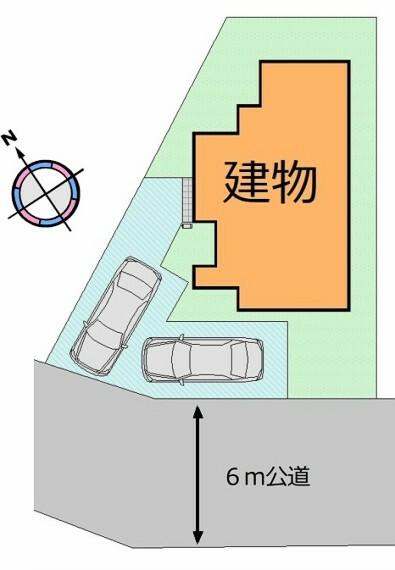 区画図 (区画図)駐車スペース2台分有り。南道路で明るい陽だまり住まい