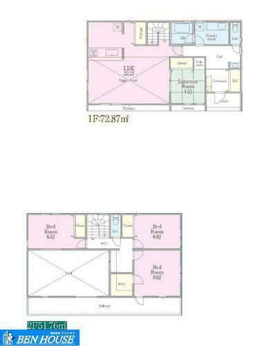区画図 建物プラン例 ・建築条件無しにつきお好きなハウスメーカーさんでご建築可能です!