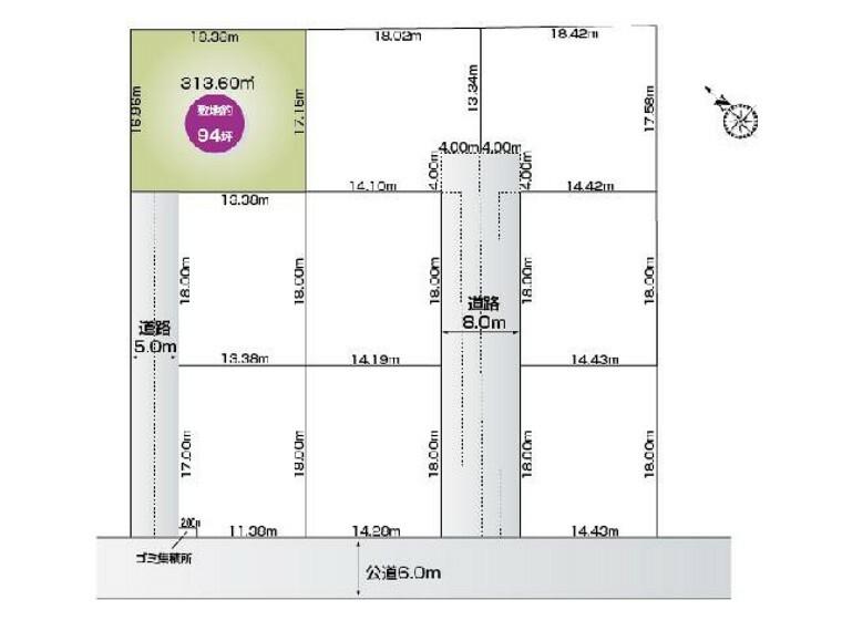 区画図 福居町4期9区画 A区画・・・土地面積 313.60平米 (94.86坪)
