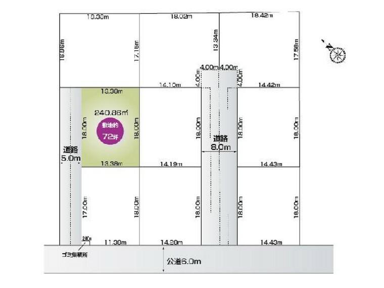 区画図 福居町4期9区画 B区画 ・・・土地面積 240.86平米 (72.86坪)