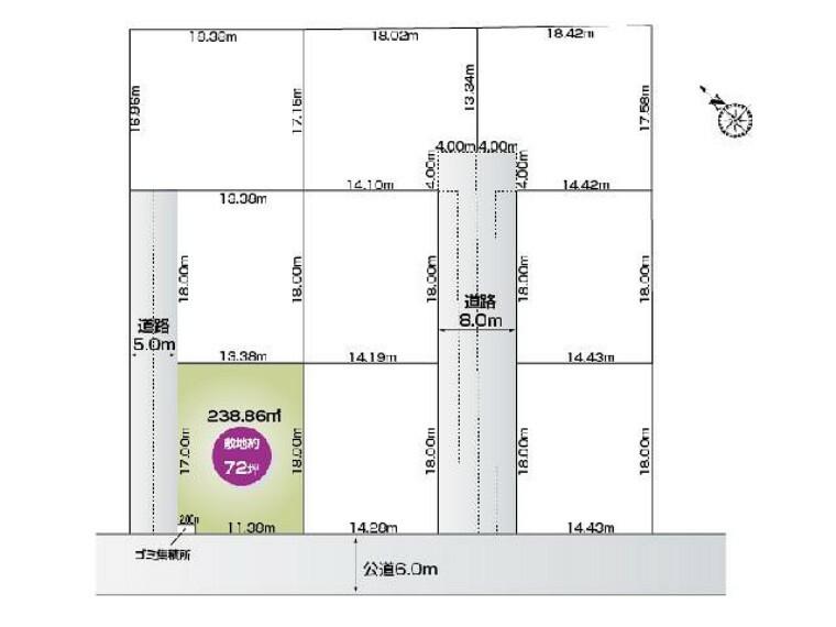 区画図 福居町4期9区画 C区画・・・土地面積 238.86平米 (72.25坪)