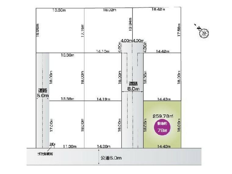 区画図 福居町4期9区画 I区画・・・土地面積 259.78平米 (78.58坪)
