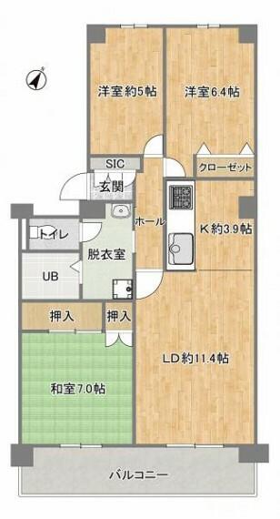 間取り図 【リフォーム後予定間取図】独立した洋室が2部屋、リビングとの続き間の和室1部屋の3LDK住宅です。